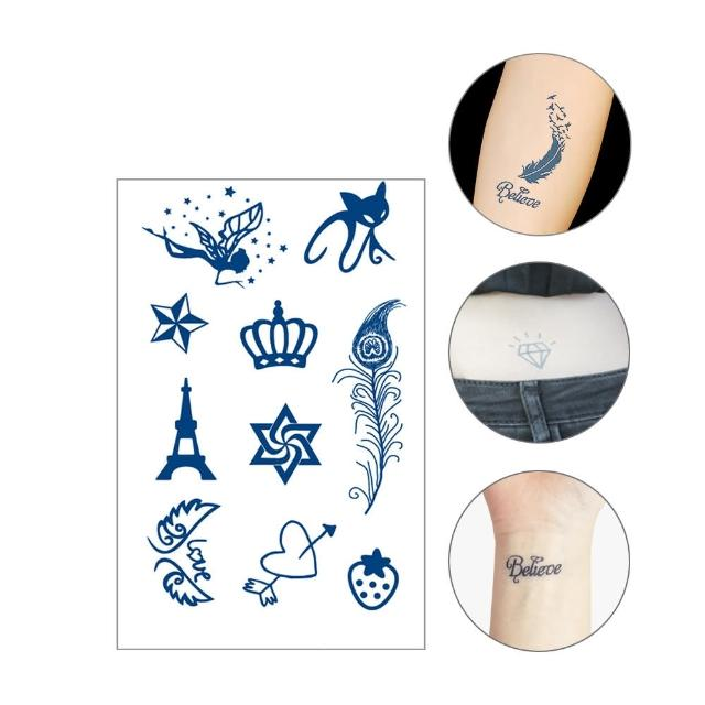 【JoyNa】4入-長效持久防水紋身貼紙 果汁草本刺青貼紙(小-多種圖案)