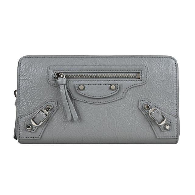 【Balenciaga 巴黎世家】CLASSIC羊皮亮銀釦鍊長夾(灰)