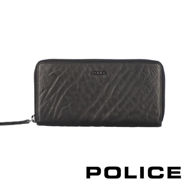 【POLICE】限量1折 義大利潮牌 頂級小牛皮拉鍊長夾 全新專櫃展示品(雷諾系列)