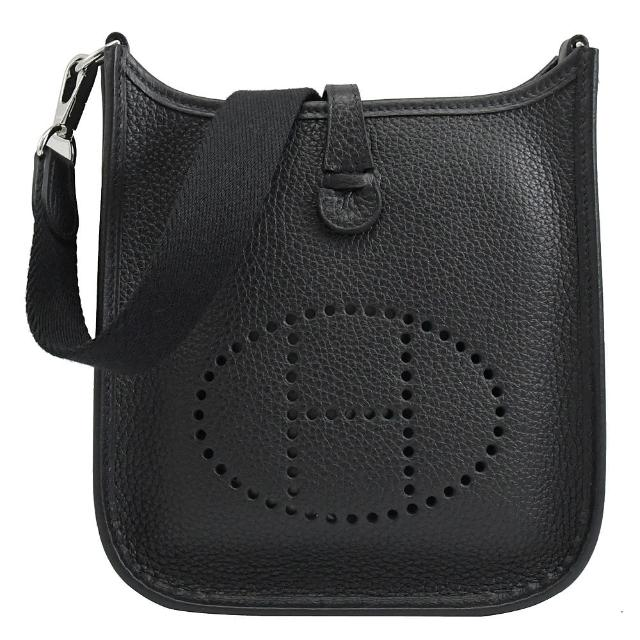 【Hermes 愛馬仕】MINI EVELYNE 品牌鏤空字母H扣式迷你斜背包(黑)
