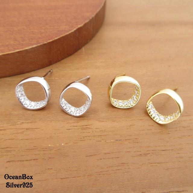 【海洋盒子】白金色.金色鑲鑽方圓環圈925純銀耳環(925純銀耳環.貼耳耳環)