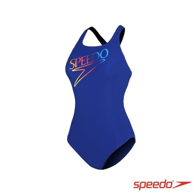 【SPEEDO】女 運動連身泳裝 Retro Logo(藍)