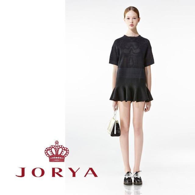 【JORYA】weekendH2000204網格質感荷葉邊短袖連身洋裝