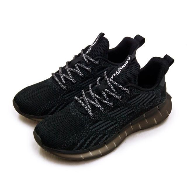 【GOODYEAR 固特異】男 專業輕量飛織緩震慢跑鞋 暗夜光靈系列(黑灰 03270)