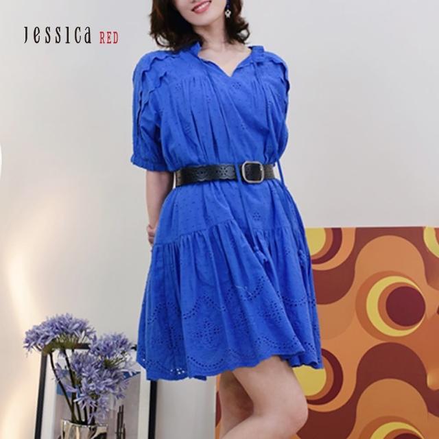 【Jessica Red】甜美寬鬆舒適棉質短袖洋裝(藍)