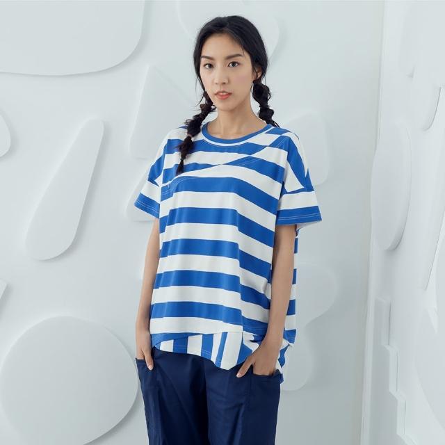 【MOSS CLUB】條紋假兩件寬T-女短袖上衣 條紋 藍 咖(二色/版型寬鬆)