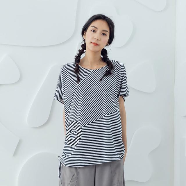 【MOSS CLUB】交錯條紋拼接T恤-女短袖上衣 條紋 藍 卡(二色/版型合身)