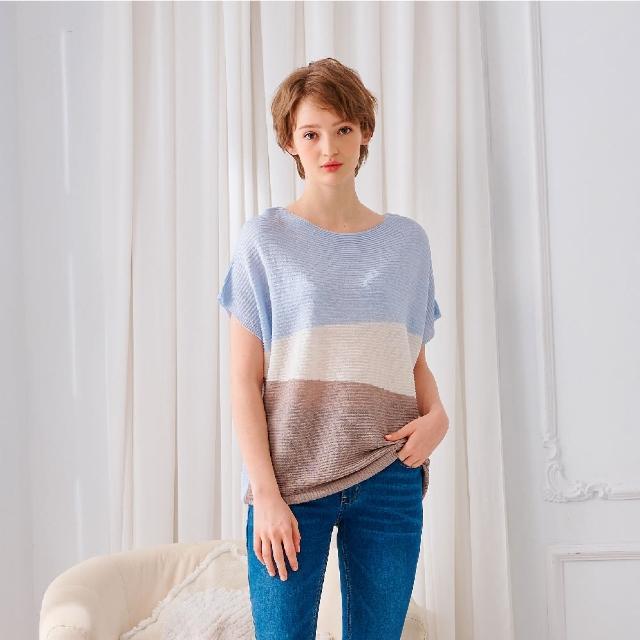 【KiKi】撞色連袖-女短袖針織衫 撞色 藍 淺藍 粉 黃(四色/魅力商品/版型合身)