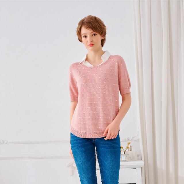 【KiKi】假兩件圓點-女短袖針織衫 假兩件 藍 黑 粉(三色/魅力商品/版型合身)