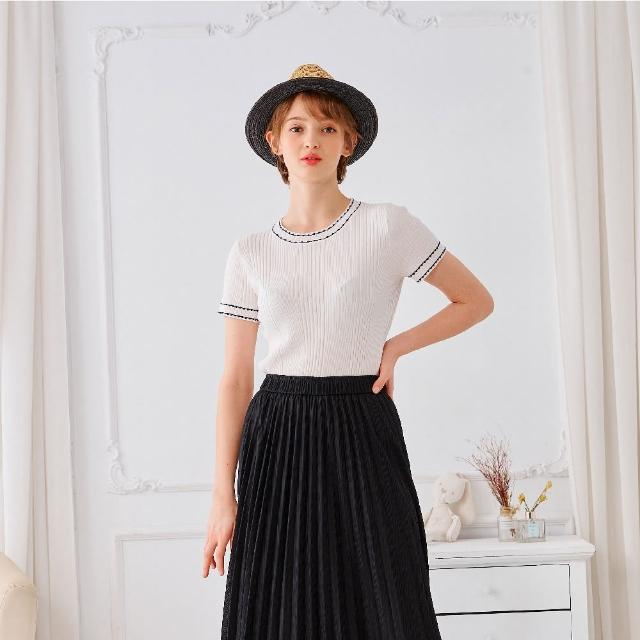 【KiKi】撞色立紋圓領-女短袖針織衫 撞色 藍 白 黃(三色/魅力商品/版型合身)