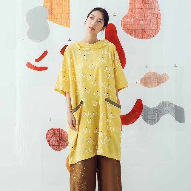 【MOSS CLUB】海鷗印花繭型-女短袖洋裝 印花 藍 桔 黃(三色/版型寬鬆)