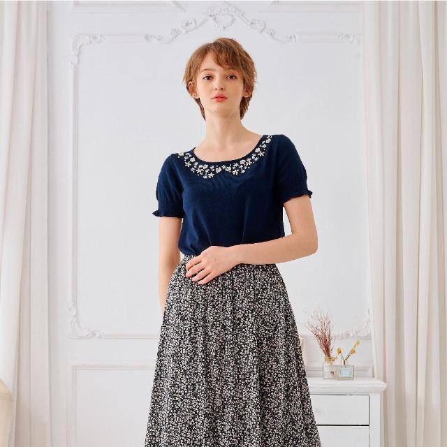 【KiKi】典雅珍珠造型-女短袖針織衫 珍珠 藍 杏 黃(三色/魅力商品/版型合身)