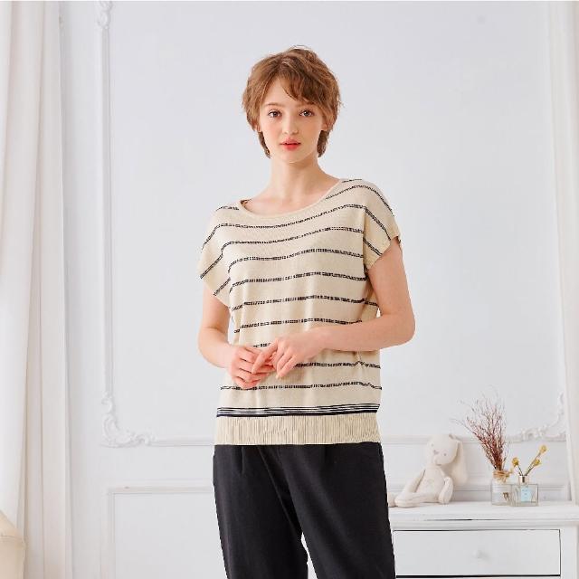 【KiKi】百搭必備條紋-女短袖針織衫 條紋 藍 粉 米(三色/魅力商品/版型合身)