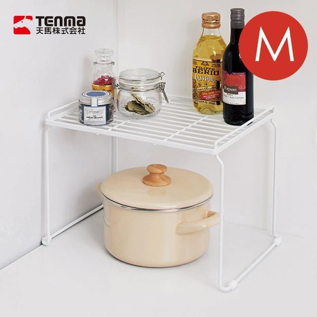 【日本天馬】廚房系列桌上/水槽下兩用可層疊置物架-M(廚房調味料置物架 鍋具收納架 水槽置物架 寬型置物架)