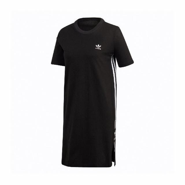 【adidas 愛迪達】洋裝 Tee Dress 休閒 輕便 好搭 女款 愛迪達 三葉草 一件式 外出 穿搭 黑 白(FU1732)