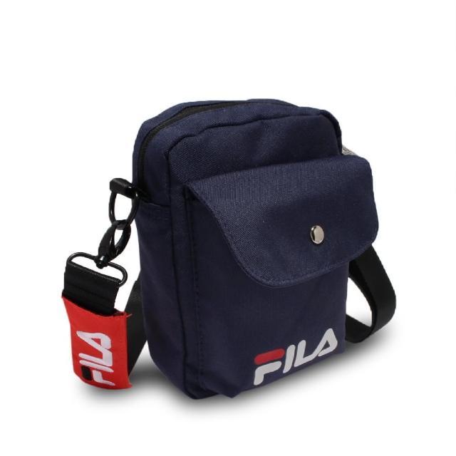【FILA】斜背包 Shoulder Bag 男女款 斐樂 外出 輕便 手機包 休閒穿搭 藍 白(BMV7017NV)