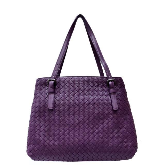 【BOTTEGA VENETA 寶緹嘉】624019 經典手工編織小羊皮雙提把托特包(紫色)