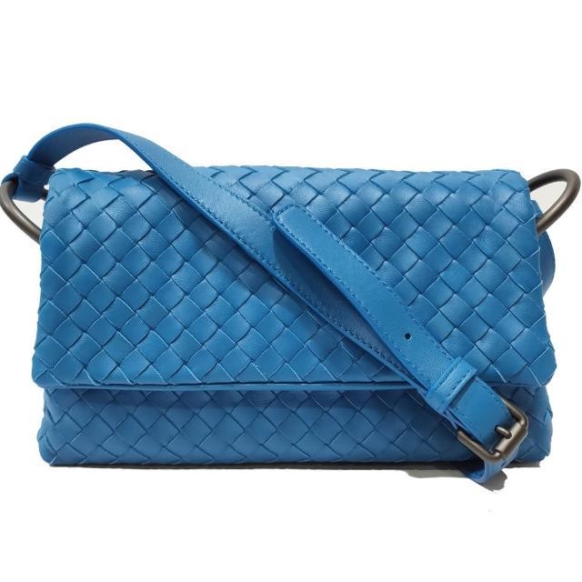 【BOTTEGA VENETA 寶緹嘉】624043 經典手工編織小羊皮肩背包/斜背包(亮藍色)