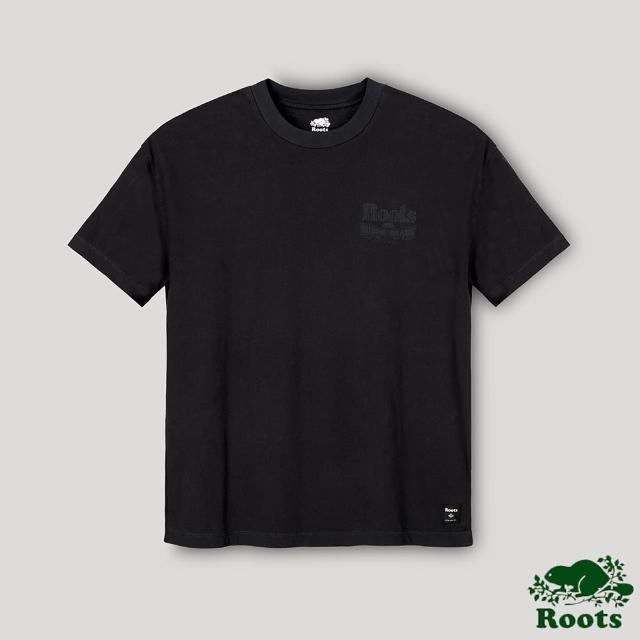 【Roots】Roots男裝- 質感LOGO短袖T恤(黑色)
