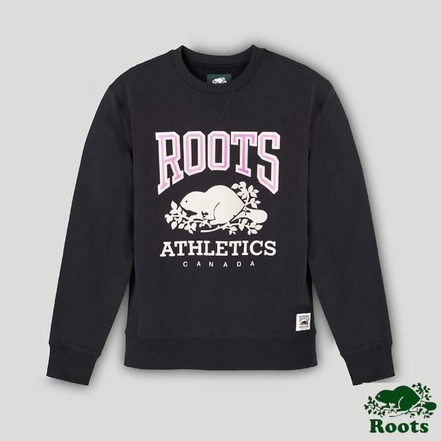 【Roots】Roots男裝- RBA 原創翻玩系列 經典LOGO毛圈布圓領上衣(黑色)