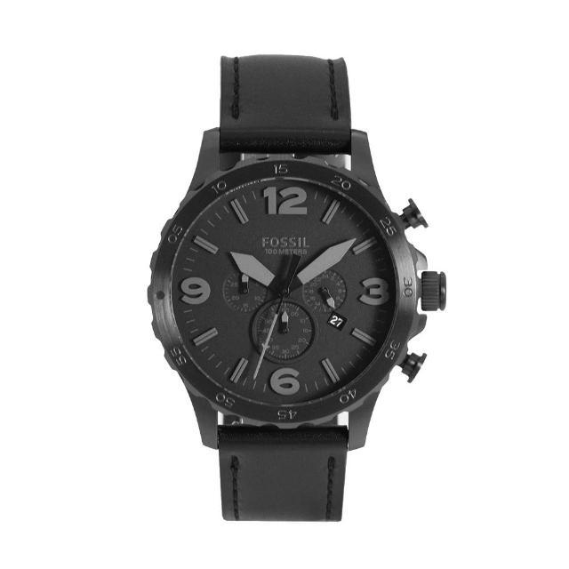【FOSSIL】黑色系大錶盤 三眼計時 黑色皮革錶帶 父親節禮物首選(JR1354)