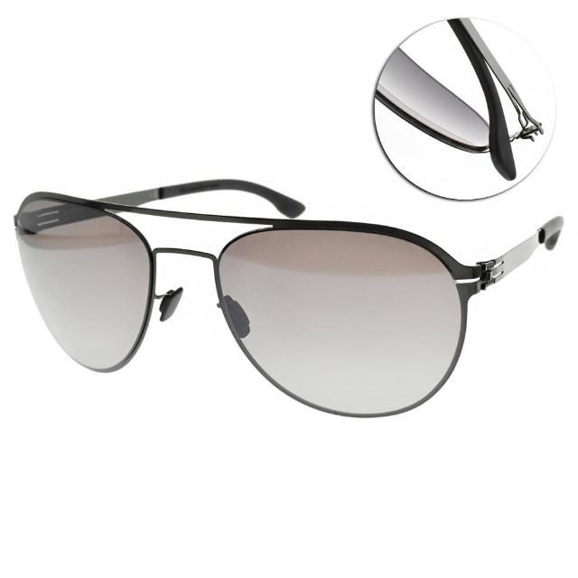 【ic!berlin】太陽眼鏡 德國薄鋼 飛行雙槓款(槍黑-棕灰鏡片#ATTILA L. GUN METAL)