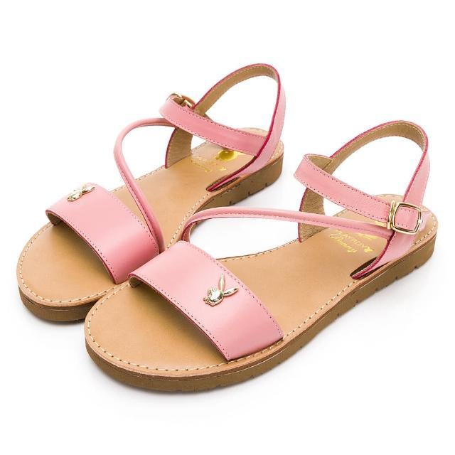【PLAYBOY】悠閒假期 一字寬版斜帶真皮涼鞋-桃-Y622288