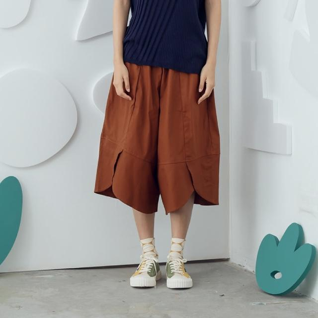 【MOSS CLUB】不規則圓弧下襬打褶寬版-女長褲 素色 深藍 咖(二色/版型寬大)