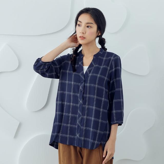 【MOSS CLUB】格紋假兩件-女七分袖上襯衫 格紋 藍 白 灰(三色/魅力商品/版型合身)