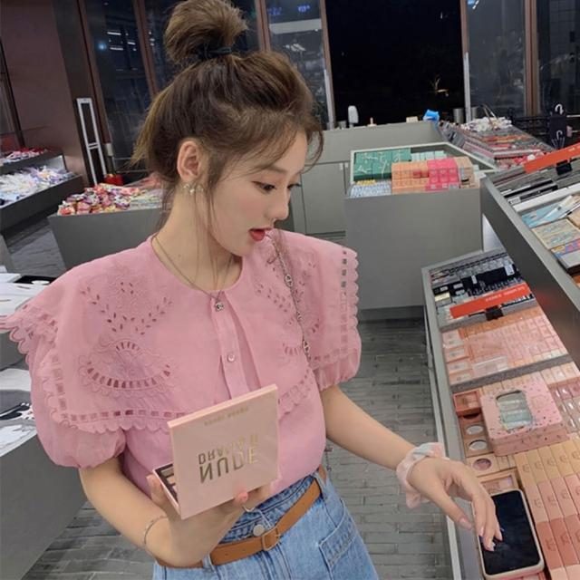 【BBHONEY】少女粉 鏤空設計感 海軍領 襯衫(網美熱搜款)