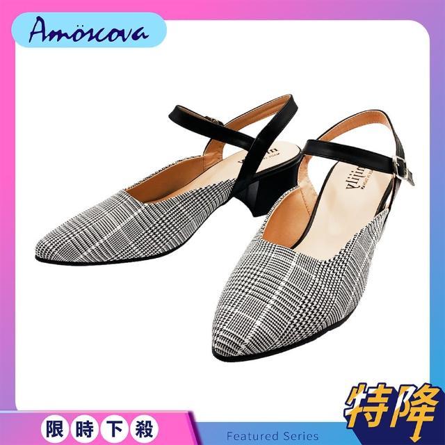 【Amoscova】女鞋 MITMIT尖頭後空中跟鞋 中跟涼鞋(219)
