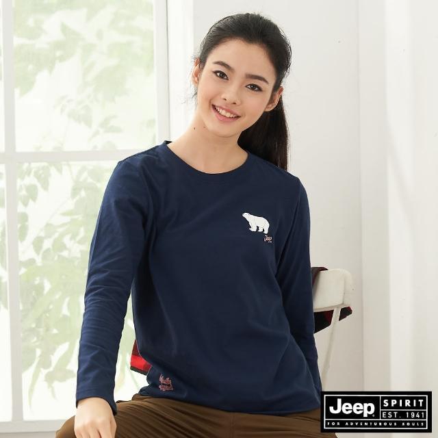 【JEEP】女裝 美式圖騰長袖T恤(深藍)