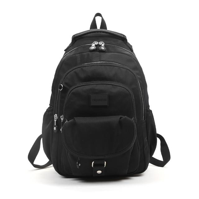 【VIVI SECRET】素色休閒防潑水多隔層手提/後背包(黑色 大容量後背包)