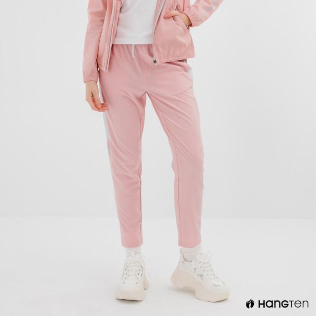 【Hang Ten】女裝-恆溫多功能-REGULAR FIT標準四向彈力吸濕快乾抗曬撞色運動長褲-粉色