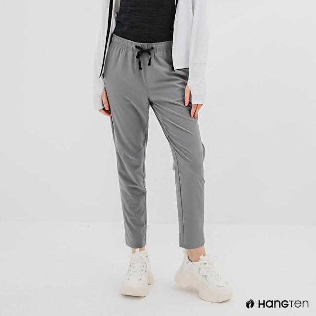 【Hang Ten】女裝-恆溫多功能-REGULAR FIT標準四向彈力吸濕快乾抗曬撞色運動長褲-灰色