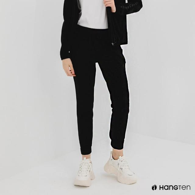 【Hang Ten】女裝-恆溫多功能-REGULAR FIT標準四向彈力吸濕快乾抗曬運動長褲-黑