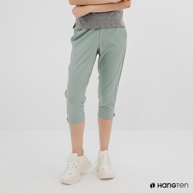 【Hang Ten】女裝-恆溫多功能-REGULAR FIT標準四向彈力吸濕快乾抗曬七分運動長褲-灰綠