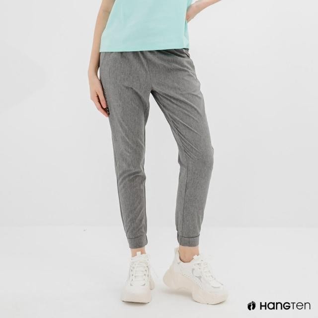 【Hang Ten】女裝-恆溫多功能-REGULAR FIT標準四向彈力吸濕快乾抗曬運動長褲-深花紗灰