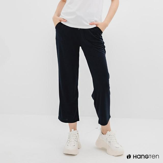 【Hang Ten】女裝-恆溫多功能-REGULAR FIT標準鳥眼吸排紗涼感抗菌除臭九分運動長褲-深藍