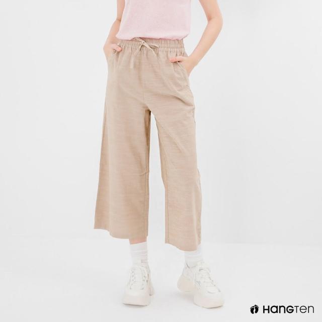 【Hang Ten】女裝-WIDE LEG FIT鬆緊腰頭竹節紋九分褲-淺卡其