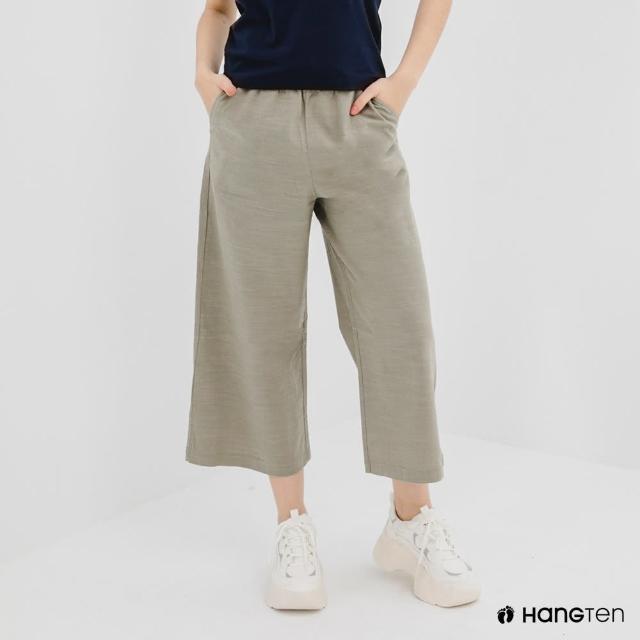 【Hang Ten】女裝-WIDE LEG FIT鬆緊腰頭竹節紋九分褲-灰綠
