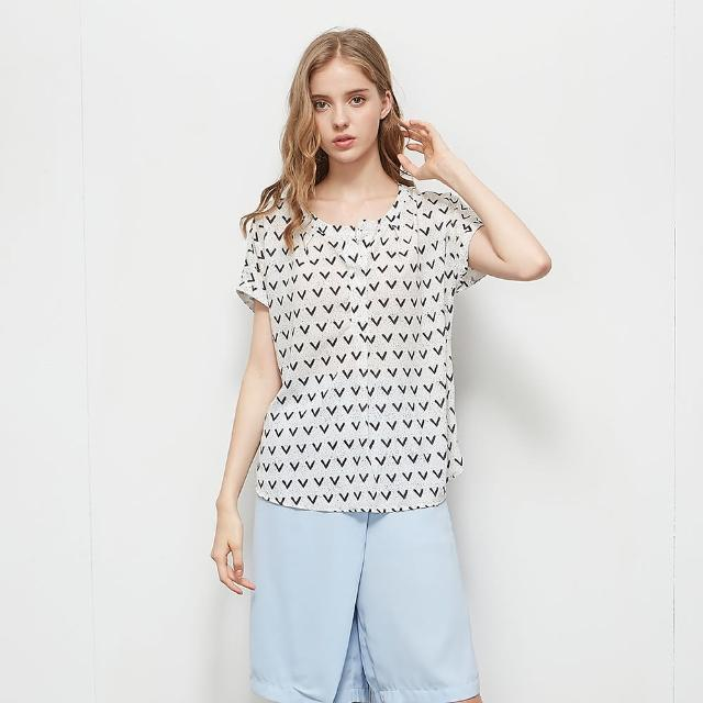 【KiKi】輕薄印花圓領-女短袖襯衫 印花 白 粉(二色/版型適中)