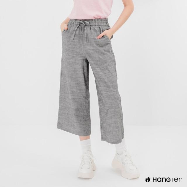 【Hang Ten】女裝-WIDE LEG FIT鬆緊腰頭竹節紋九分褲-灰色