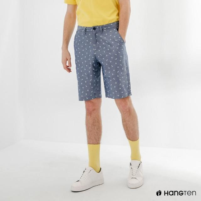 【Hang Ten】男裝-REGULAR FIT滿版印花短褲-深藍
