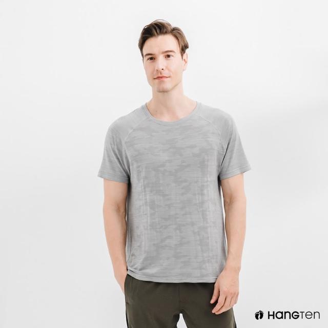 【Hang Ten】男裝-恆溫多功能-銀纖維無縫涼感抗菌除臭迷彩短袖T恤-花紗灰