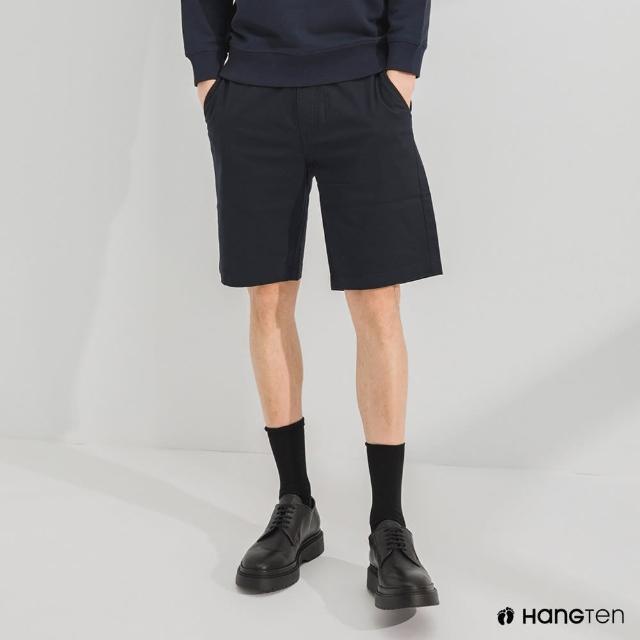 【Hang Ten】男裝-REGULAR FIT經典彈性短褲-深藍
