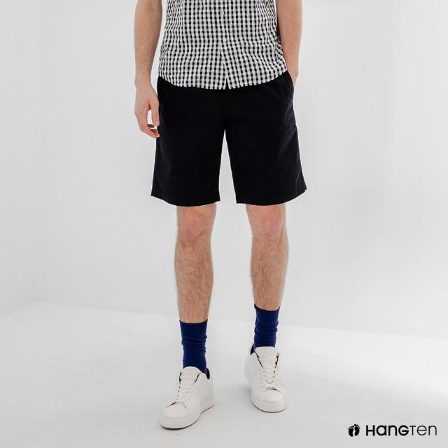 【Hang Ten】男裝-RELAXED FIT寬鬆鬆緊腰頭短褲-深藍