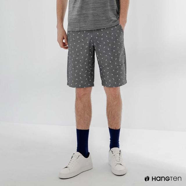 【Hang Ten】男裝-REGULAR FIT滿版印花短褲-花紗黑