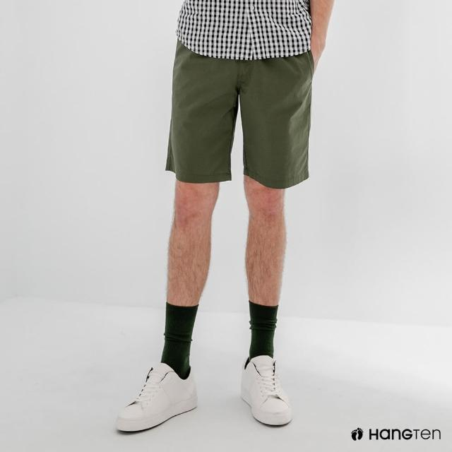 【Hang Ten】男裝-RELAXED FIT寬鬆鬆緊腰頭短褲-淺軍綠