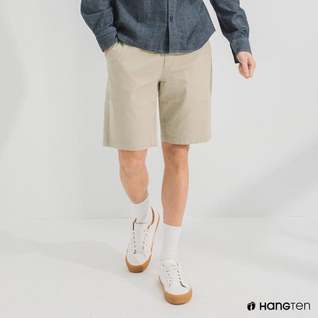 【Hang Ten】男裝-REGULAR FIT經典彈性短褲-淺卡其
